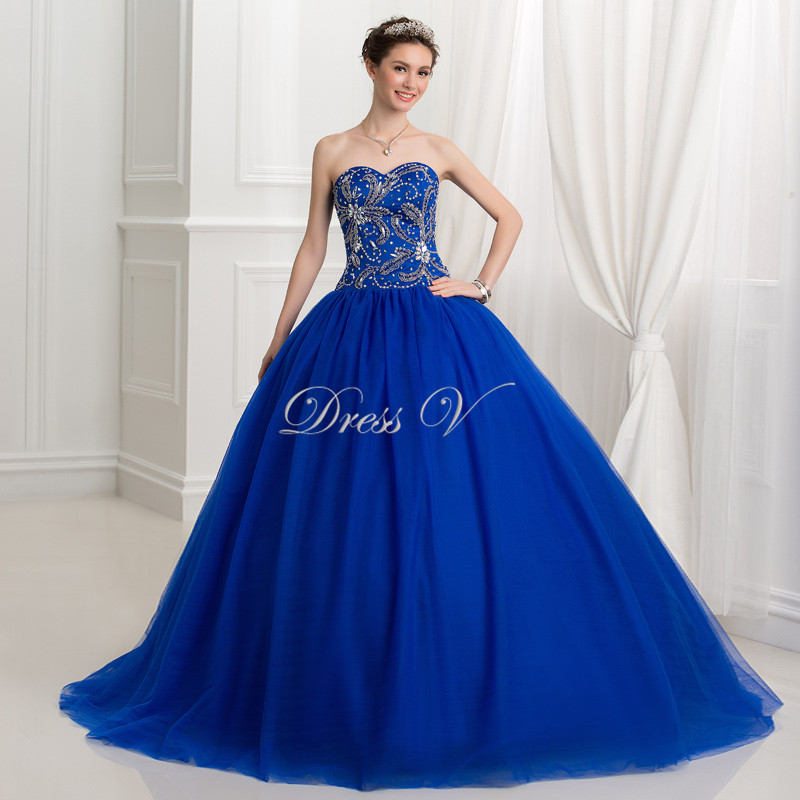 Royal Blue Ball Gown Puffy Quinceanera Dresses 2017 Beaded ...