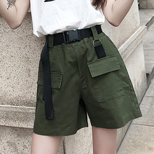 Women Summer Shorts With Belt Feminine Cargo Pockets High Elastic Waist Pocket Casual Green Cotton
