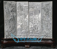 Chinese Boutique collection Tibetan silver carving beauty folding screen