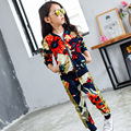 2016 Brand Girls Sport Print Flower Clothes Set For Autumn Spring Girls Long Sleeve Top+ Pants 2 Pcs Girls School Clothing Set