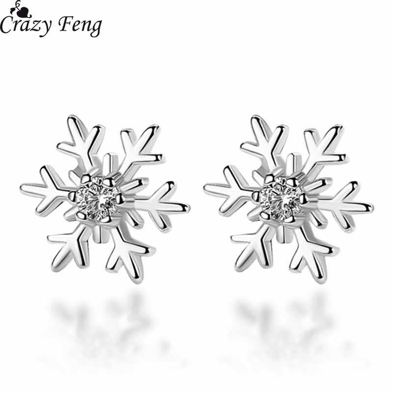 Christmas Gift Austrian CZ Crystal Stud Earrings Elegant Silver Color Snowflake Brincos Bijoux Luxury Ear Jewelry Small Earrings