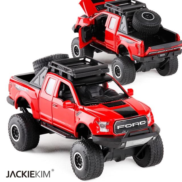 1:32 Mainan Anak Raptor F150 Pickup Truk Logam Mainan Model Mobil dengan Musik Berkedip Suara untuk Bayi Mobil Hadiah Gratis pengiriman