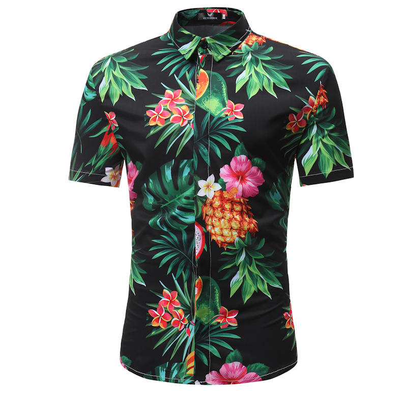 Mens Hawaiian Shirt Male Casual  Masculina Printed Beach Shirts Short Sleeve 2019 New Fashion Brand  SizeM-3XL