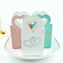 Новинка, 10 шт., Золотое мини сердце, свадебное украшение, коробка для конфет, красивая двойная серебряная сумочка в форме сердца, маленькие вечерние подарочные пакетики для чая