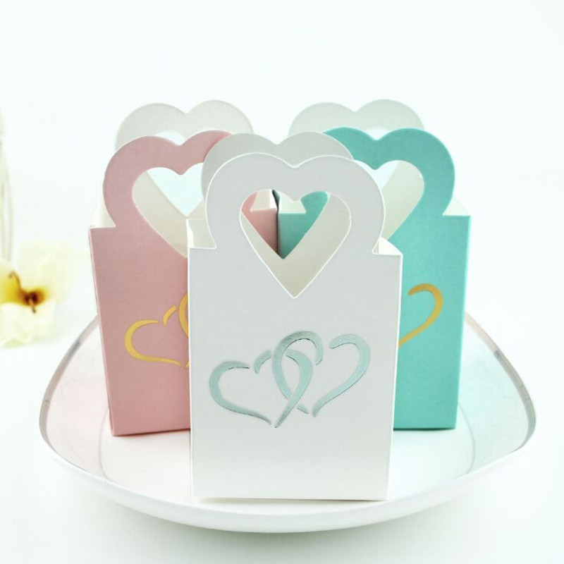 New 10pcs Gold Mini Heart Wedding Decoration Candy Box Beautiful Double Sliver Heart Hand Bag Small Party Favor Gift Tea Bag