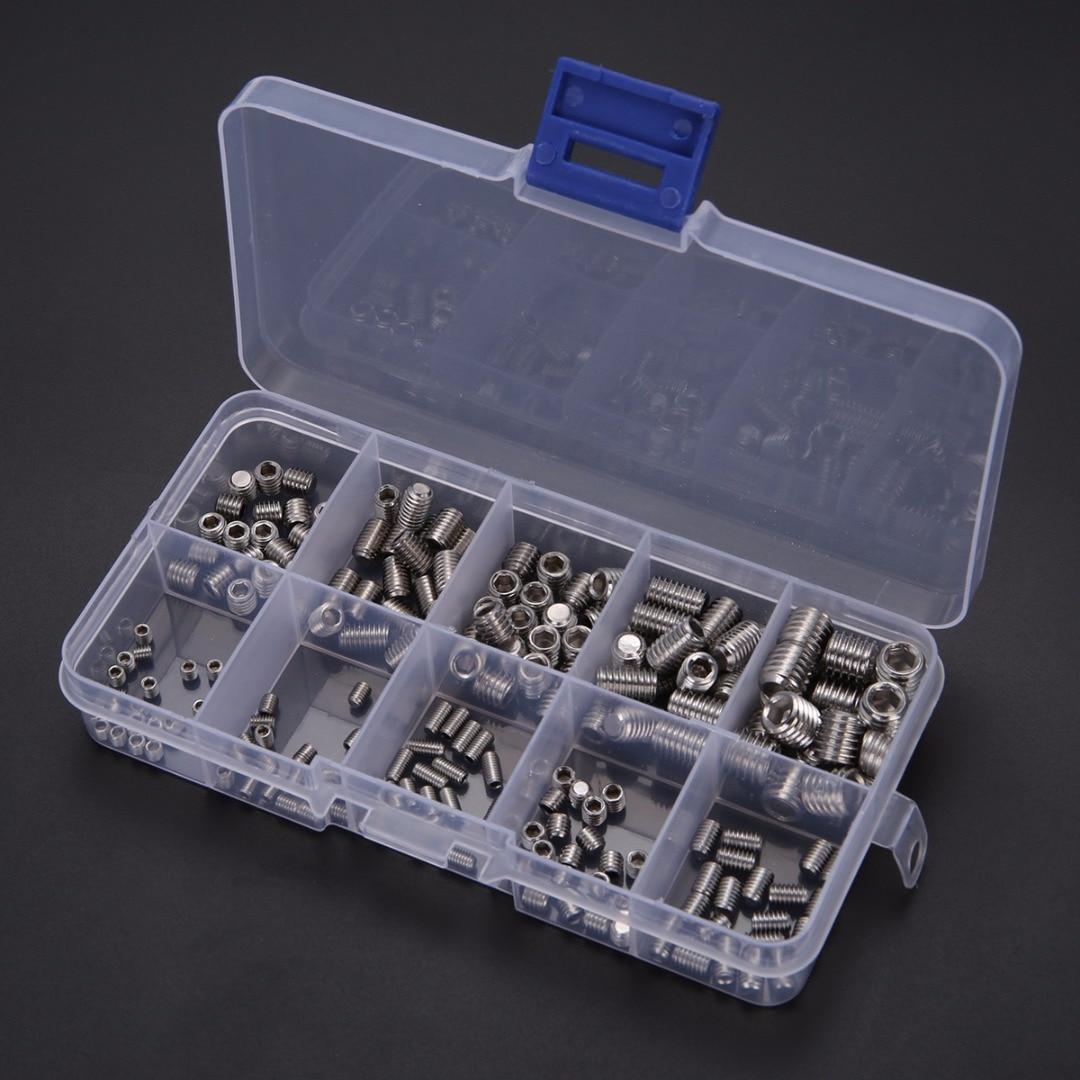 200pcs Grub Screws Assortment Kit Stainless Steel Hex Socket Screw Set M3/M4/M5/M6M8 Mayitr with Box 420pcs m3 m4 m5 alloy steel grade12 9 high tensile socket cap screws with nuts allen bolts din912 assortment kit no h991