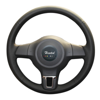 Heatd Microfiber Leather Car Steering Wheel Cover For Golf 6 Mk6 VW Polo MK5 2010 2013