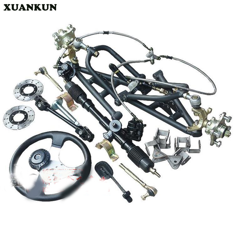XUANKUN Modified Motorcycle Karting Suspension Rocker Flange Steering System Front Axle Suspension Assembly xuankun atv karting three wheeled motorcycle modified shaft drive differential rear axle suspension