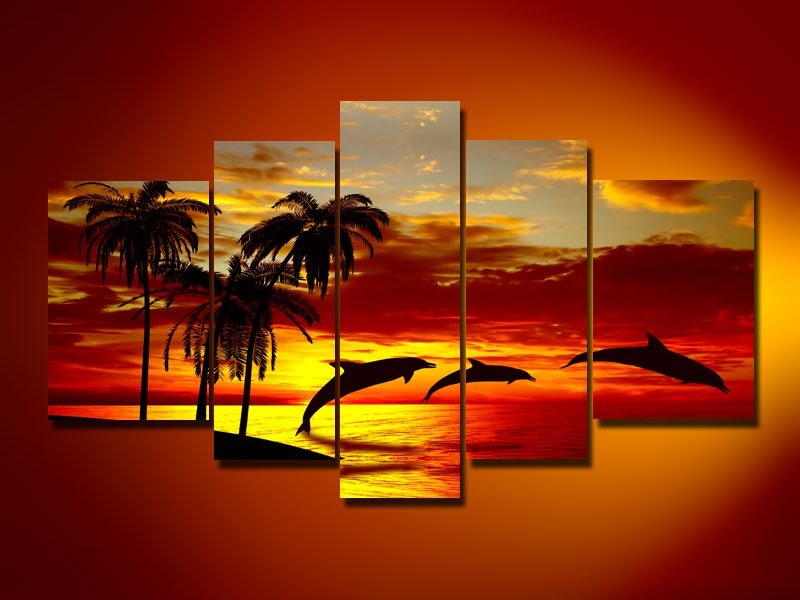 Hand Painted Oil Wall Art Decor Pictur Sunrise Beach