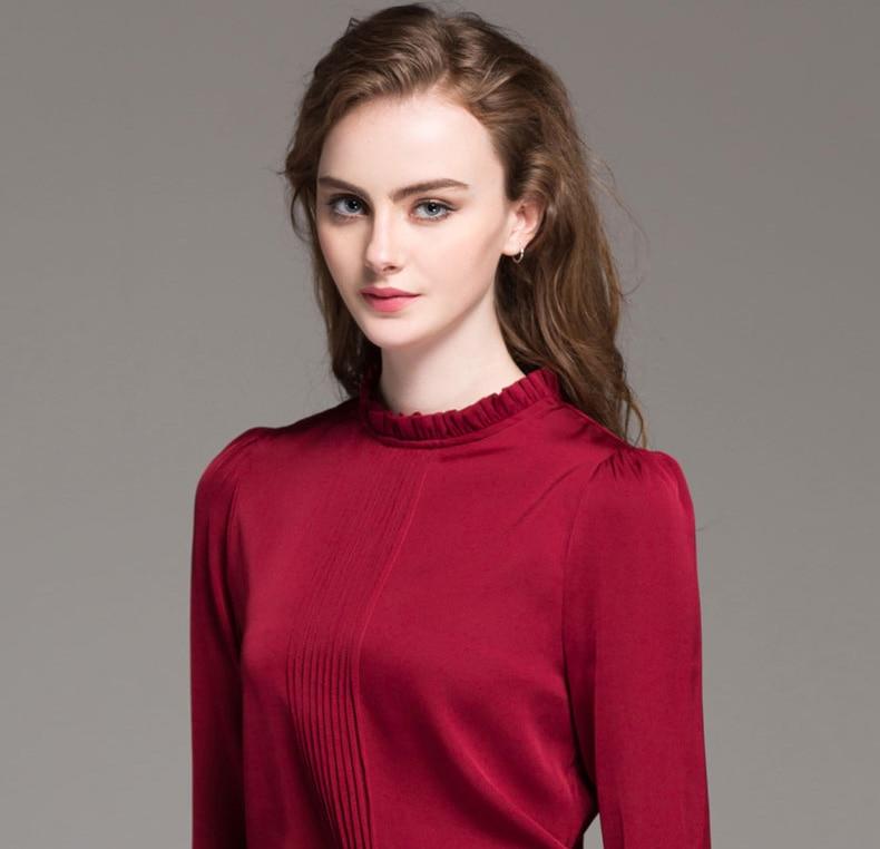 e8beb7a8f5f17 Woman Silk Blouse Office lady Silk Long sleeved Blouses PLUS SIZE ...