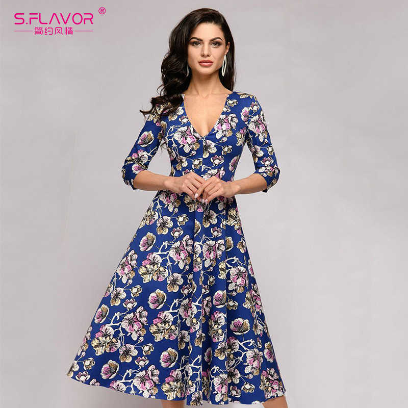 S.FLAVOR Women A-line Style 3/4 Sleeve Slim Casual Dress Summer Mid Calf Vintage Vestidos De Festa Elegant V Neck Sexy Dresses
