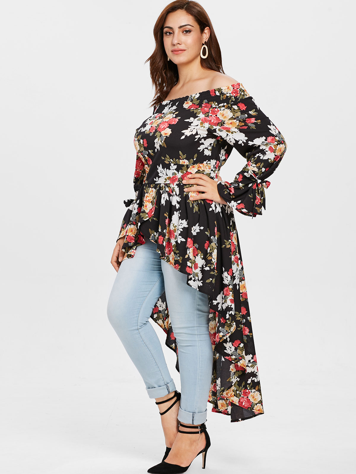 AZULINA Plus Size Off The Shoulder Floral High Low Long Blouse Women Tops  Autumn Casual Blouses Shirts Big Size Clothing Blusas-in Blouses   Shirts  from ... fd6650740c7e