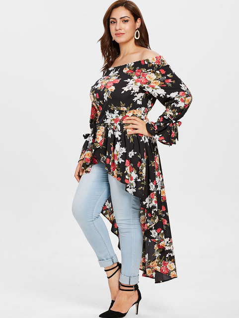 High Low Tops Plus Size Floral Shirts
