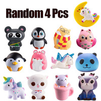 Random 4PcsJumbo Squishy Toys Children Slow Rising Antistrss Toy Unicorn Panda Squishies Stress Relief Toy Funny Kids Gift toy