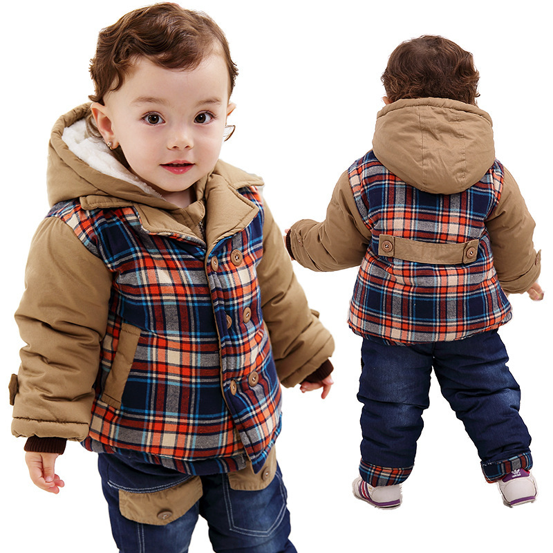 ФОТО Anlencool European and American youngster winter coat suit children's fashion winter baby boys clothing set baby winter clothing