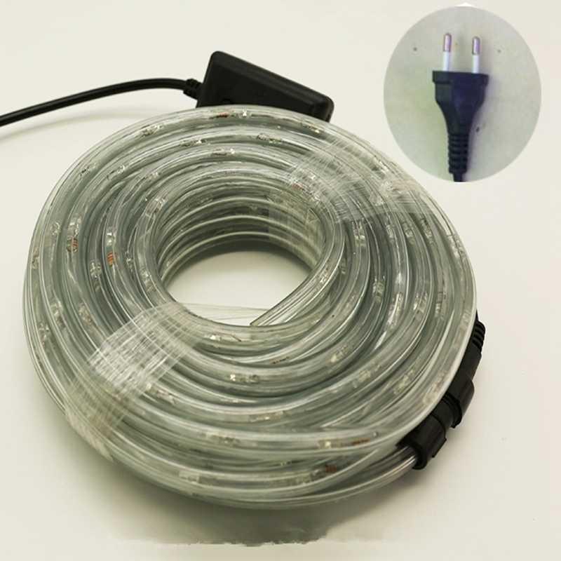 2 M-18 M AC220V IP67 impermeable Arco Iris cuerda de tubo led tira de Navidad vacaciones al aire libre decoración luces con 8 controlador de modo