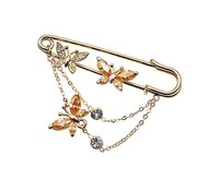Italina Red Apple 100 Austria Crystal And 18K Gold Plated Fashion Butterflyl Brooches Jewelry For Women