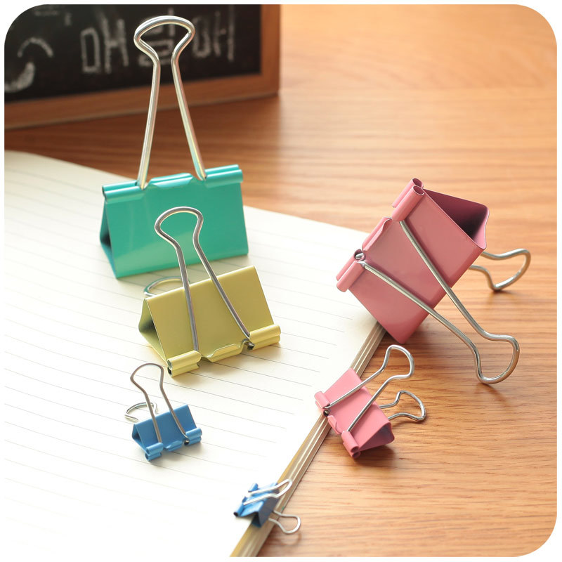 20 Pcs Colorful Metal Binder Clips Paper Clip 19mm School Office Learning Supplies Color Random High Quality