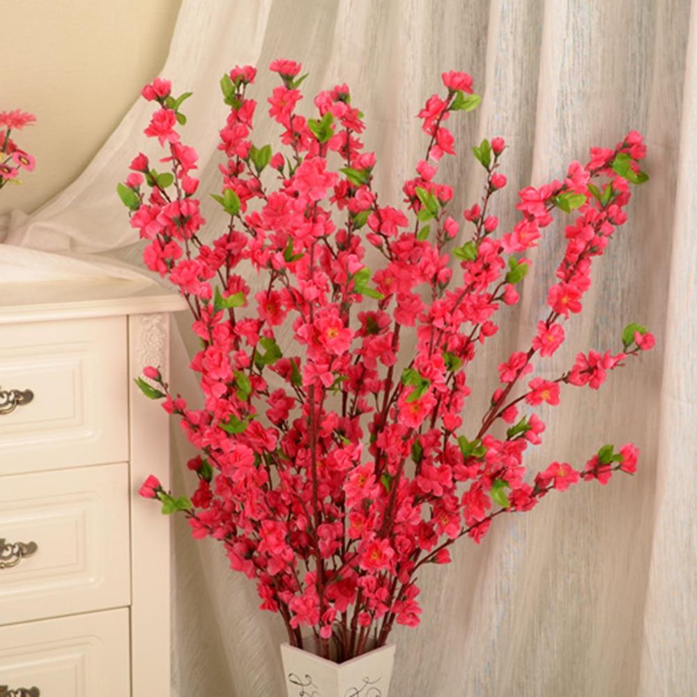 50inch 새로운 패션 인공 벚꽃 봄 매화 복숭아 꽃 지점 실크 꽃 나무 장식 P20
