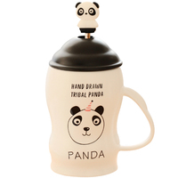 2018 Newest Panda Cups Ceramic Coffee Mugs Milk Mugs Tea Cup with spoon lid Thermos water Bottle 400ml Girls Kids Birthday Gifts