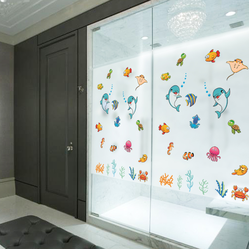 3D PVC Sea World Opaque Pattern Cartoon Bedroom Living Room Bathroom  Balcony Frosted Glass Doors Electrostatic