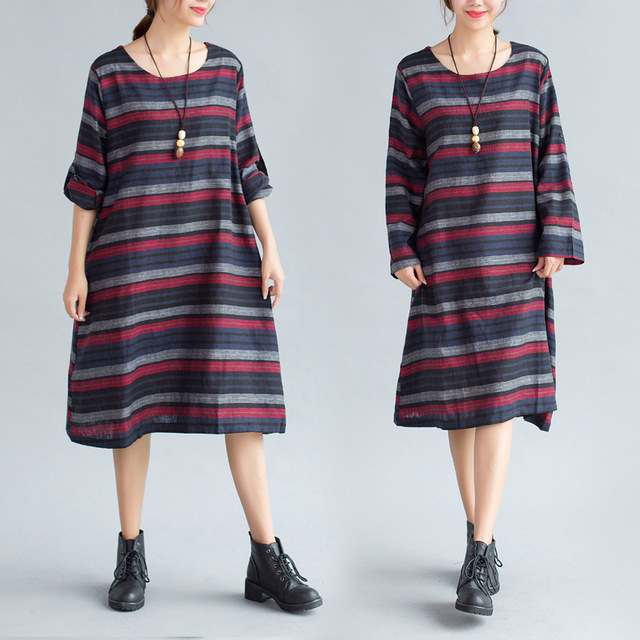 Maternity Dresses New 2017 Cotton / Hemp Striped Loose Long Sleeve One Piece Dress for Pregnant Women Vestidos Clothes YFQ030