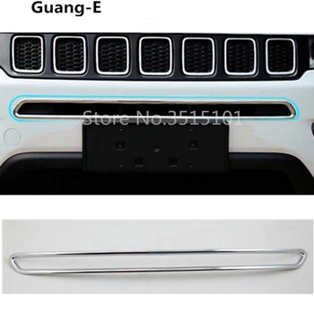 Car ABS Chrome License Plat Racing Grid Grill Grille Hoods Panel Frame Moulding bumper part For Jeep compass 2017 2018 2019 2020