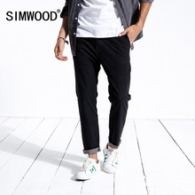 Simwood novo 2020 primavera calças de brim dos homens ajuste fino moda casual tornozelo comprimento denim calças roupas da marca mais tamanho 180400