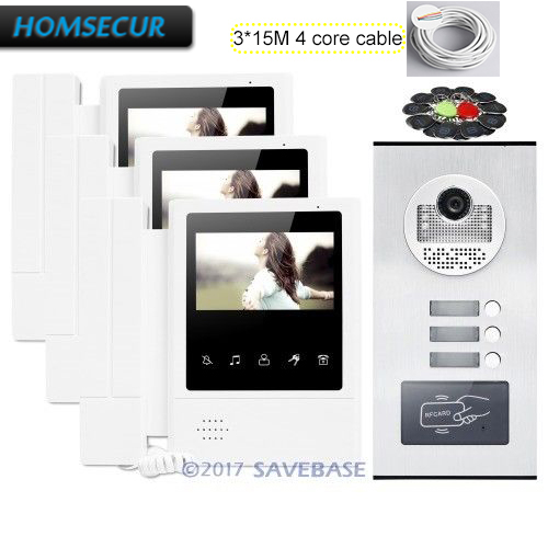 HOMSECUR 4.3 Wired Video Door Entry Call Intercom with LCD Color Screen for 3 Families + 3*15m 4-core Cable