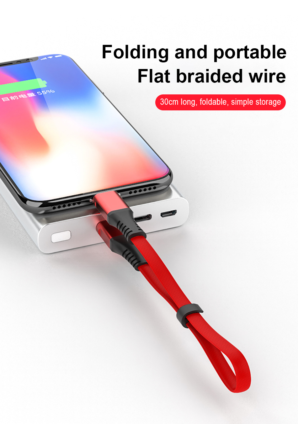 NOHON Portable USB Charger Cable For iPhone X XS MAX XR Data Sync Fast Charging Short Cable For iphone 8 7 6S 5 5S 5C Plus 30CM (2)