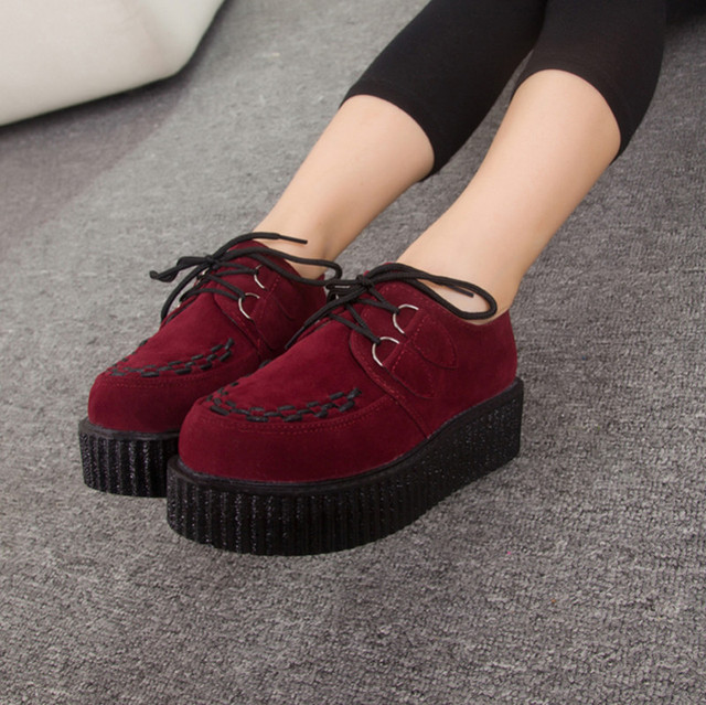 ccbc379a5 Wine Red Vintage creepers 2015 fashion string rope women high platform  shoes creeper platforms female wholesale