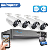 4CH 1080P POE NVR CCTV System Kit 2MP Waterproof Bullet IP Camera Outdoor Plug And Play