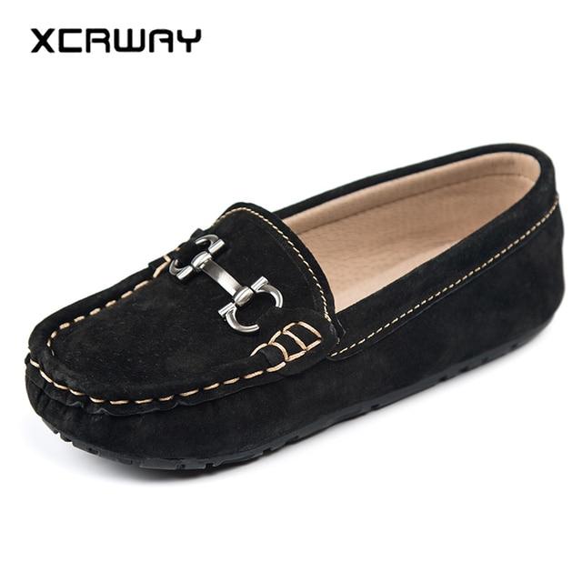 comment commander nouveau design choisissez le dégagement XCRWAY enfants mocassins en cuir véritable décontracté garçons et filles  chaussures bateau garçon baskets enfant bas âge fille taille 26 35