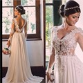 Vestido De Noiva 2017 V Neck Lace Chiffon Wedding Dresses Sheer Long Sleeve A-line Bride Dress Sexy Backless Brida Wedding Dress