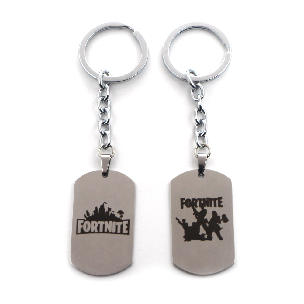 P2407 Dongmanli Hot FPS Game Fortnite Battle Royale Keychains Stainless Steel keyring Laser Printing Personalized Jewelry