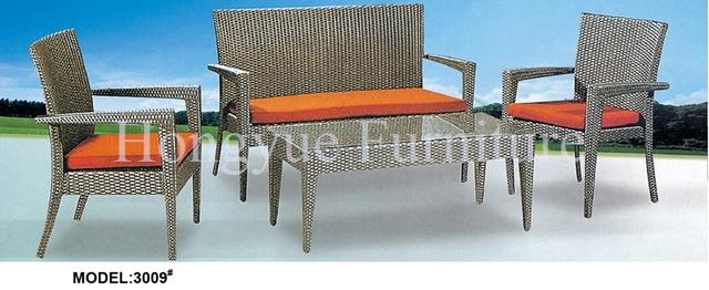 Juego de muebles de mimbre patio sofá con cojines de color naranja
