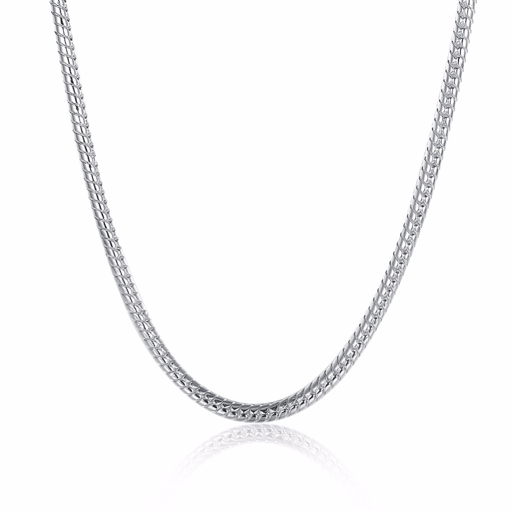 Hot 925 Sterling Silver Jewelry Men 4MM Serpentine Necklace 2 Simple Serpentine Necklace Free Shipping Express Delivery