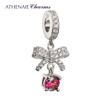 ATHENAIE 925 Silver Plated Platinum With Pave Clear CZ Bowknot Forever Love To My Lady Pendant