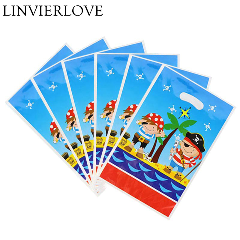 6pcs/pack Little Pirate Plastic Loot Bags For Kids BoysGirls Birthday Baby Shower Cartoon Theme Gift Return Bags Party Supplies