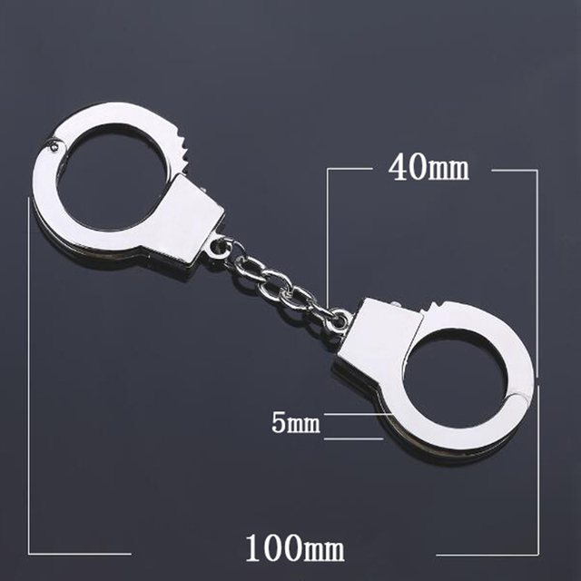 QIYIGE 1 PCS Silver Color Handcuffs Keychain Mini Size Key Chain For DIY  Key Holder Jewelry Accessories Keyring Gifts For Men