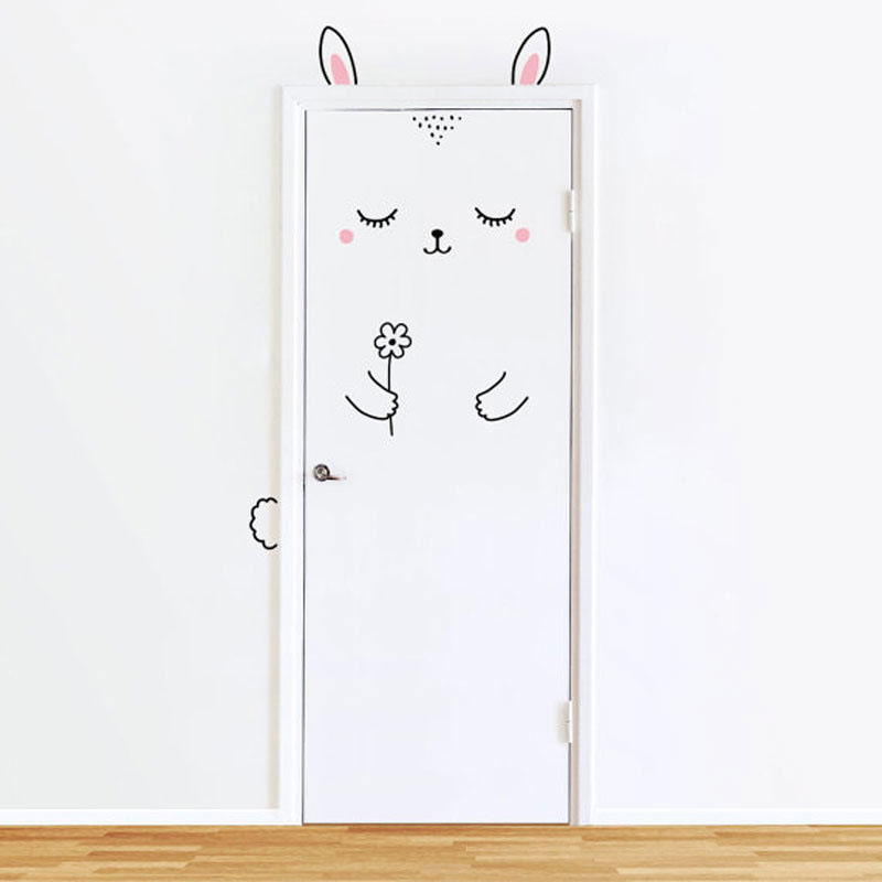 Cartoon Cute Animal Panda Cat Door Sticker for Kids Room Decoration Wall Decals Home Decor Wall Sticker Europe Style