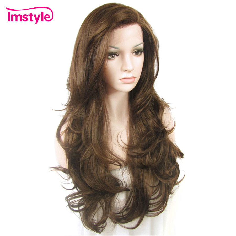 Imstyle Lace Front Wigs Natural Wavy Brown Color Wigs For Women Heat Resistant Fiber Synthetic Lace