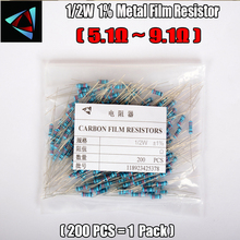 1/2W Watt 1% (200pcs/lot) Metal Film Resistor  5.1 5.6 6.2 6.8 7.5 8.2 9.1 Ohm