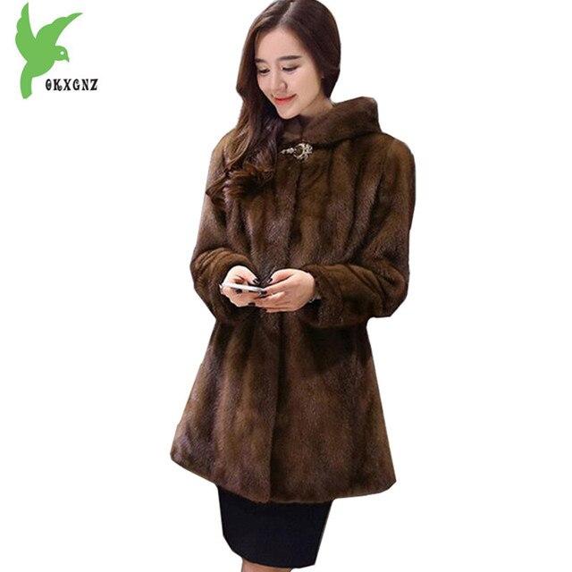 Boutique Women Winter Faux Mink Fur Coats Plus size 6XL Hooded fur Outerwear Thick warmth mink fur coat Medium length OKXGNZ1418