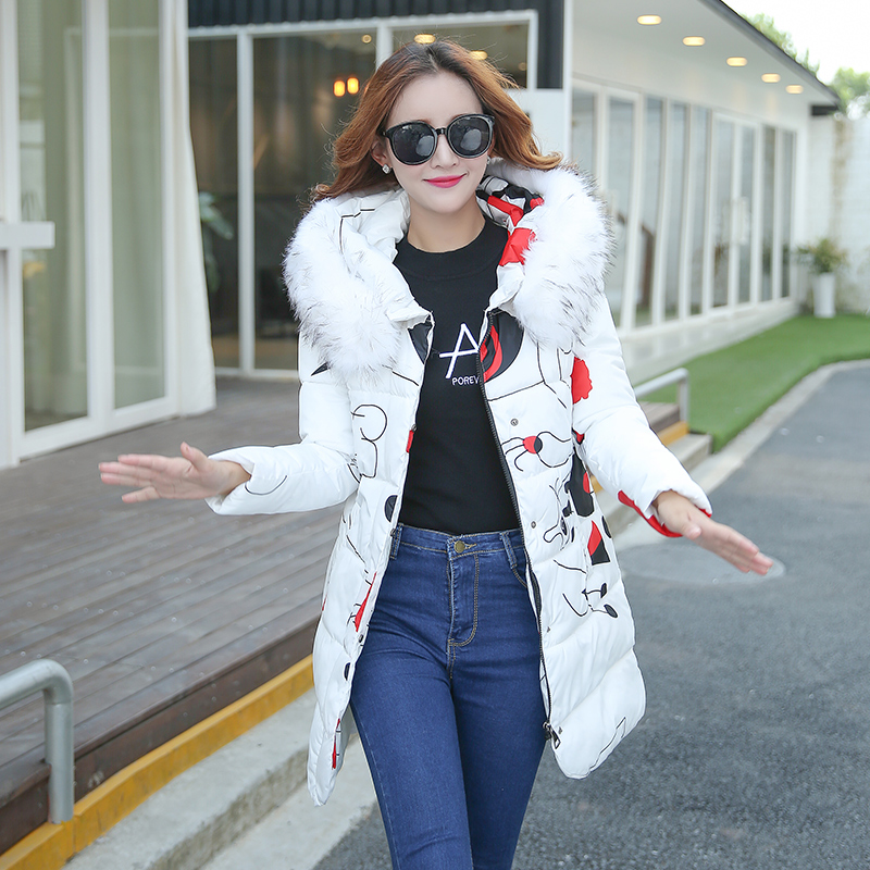 ФОТО 2016 Wadded Jacket Female New Women's Winter Jacket Down Cotton Print Jacket Coat Slim Parkas Ladies Coat Plus Size S-XXXL