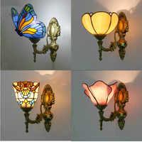 Artpad Barock Vintage Türkische Wand Lampe Schlafzimmer Aisle Korridor Bad Glasmalerei Lampenschirm Schmetterling Wand Halterung Licht