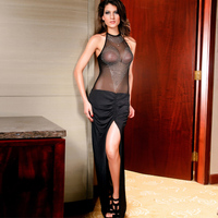Women Sexy heart diamond decoration muffler scarf sleeveless black big placketing prom full dress 6067