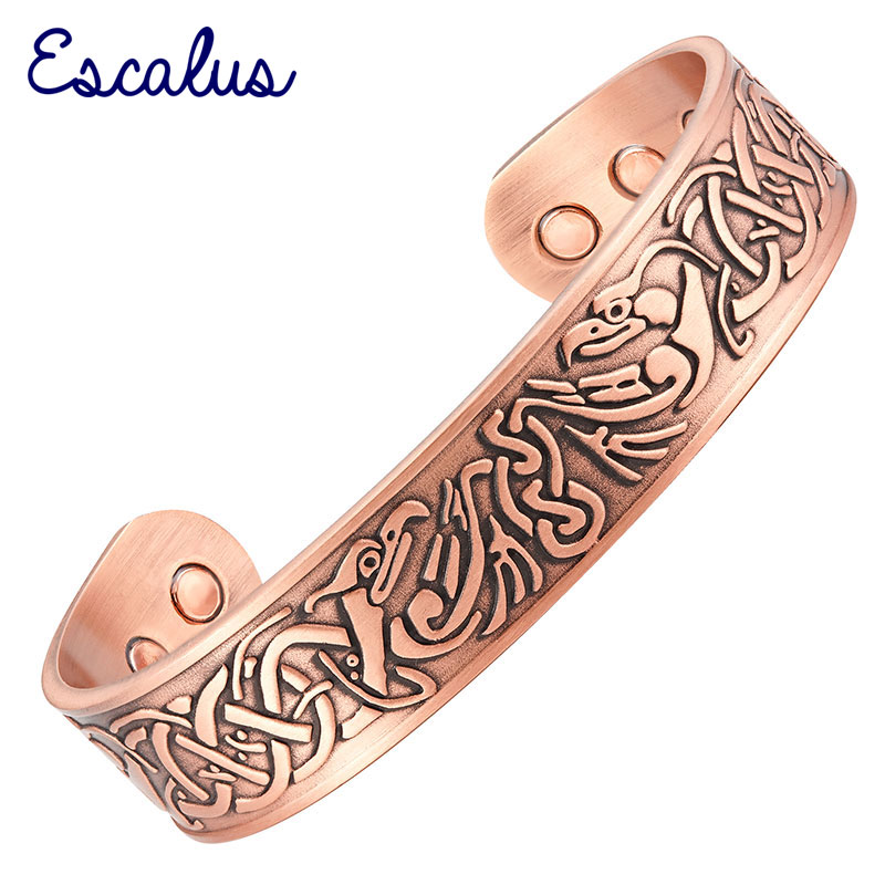 Escalus 2018 Men's Powerful Pure Copper Bangle Vintage Magnetic Bracelet For Women Health Bio Charm Round New Bangles