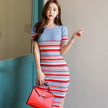 Spring Colorful Striped Short sleeve Sweater Dress Women Side Slit Slim Knitted Pack Hip Dresses Elastic