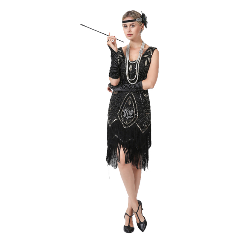 US $29.9 |Plus Size Gatsby Flapper Dress Vintage Women 1920s costume V Neck  Sleeveless Fringed Sequin Dress for Party Prom-in Dresses from Women\'s ...